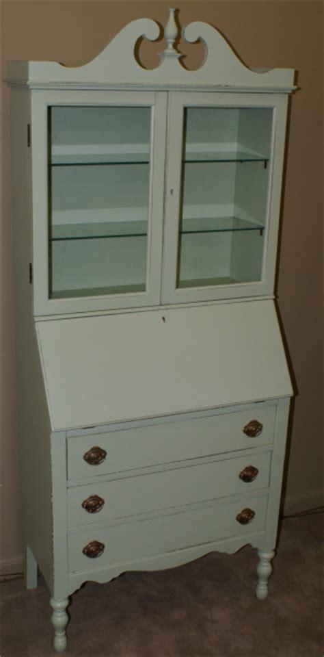 shabby chic painted green secretary desk
