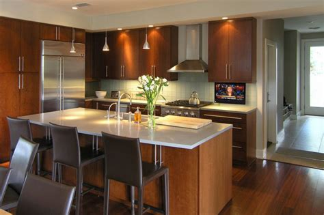 tv in kitchen ideas hidden drop down tv in modern kicthen modern kitchen austin by nexus 21
