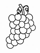 Coloring Pages Grape Fruits Fruit Cartoon Grapes Clipart Printable Drawing Vine Drawings Vegetables Clip Purple 색칠 sketch template