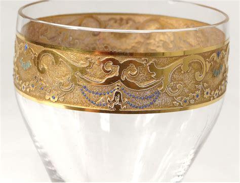 2 Crystal Stemware Moser Bohemian Carved Gilt Enamel