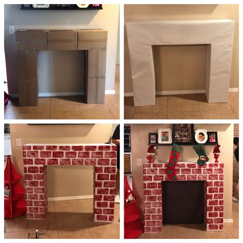 diy fireplace    cardboard boxes  painted