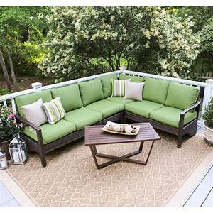 forsyth 5 piece wicker outdoor sectional set with red With outdoor sectional sofa home depot