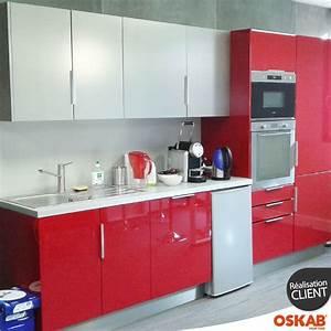 Petite cuisine dentreprise rouge et inox style for Petite cuisine équipée avec meuble de salle a manger contemporain