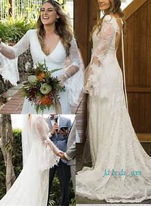 H1216 Romance Boho Backless Lace Beach Wedding Dresses
