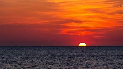 Horizon Sun Ocean Wallpapers Sunset Background 4k