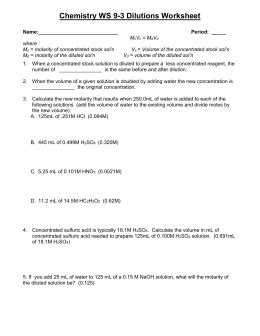 Dilutions Worksheet