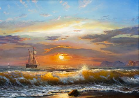 Sailboat Oil Painting by Oil Painting Sailboat Sea Waves Sunlight Sunset Landscape