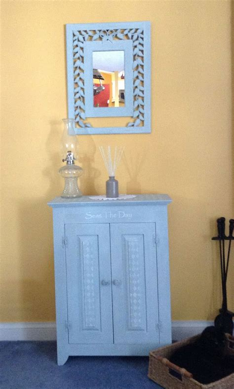 chalk painted cabinet and mirror using deco art americana
