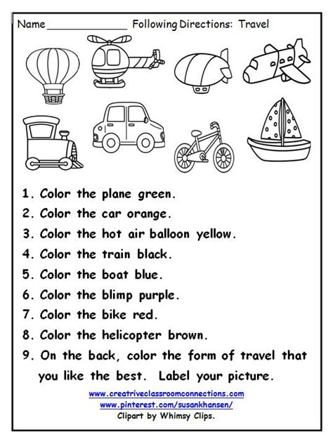 free following directions worksheets for elementary