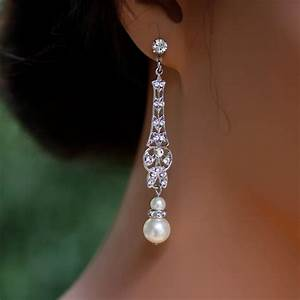 Wedding jewelry bridal earrings long art deco dangle for Wedding ring earrings