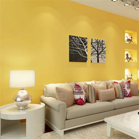 Yellow Living Room Wallpaper by Paysota Modern Simple Solid Color Yellow Wallpaper Bedroom