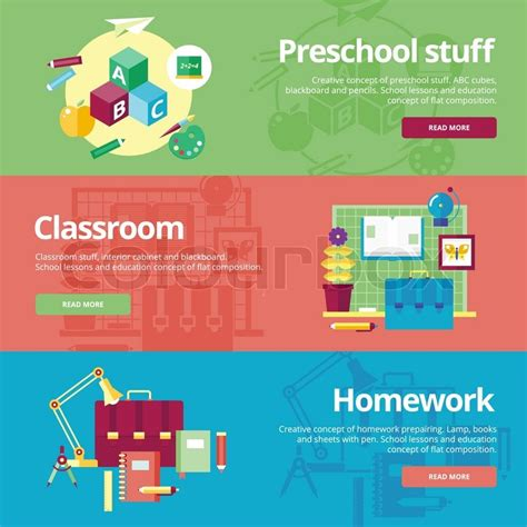 preschool learning alliance training set of flat design concepts for preschool classroom and 216