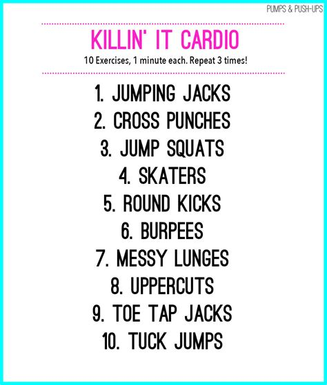 Bedroom Cardio Workout by Killin It Cardio Workout Pumps Push Ups