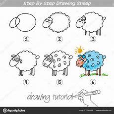 Schritt Für Schritt Zeichnen Schafe — Stockvektor