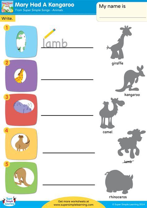 mary   kangaroo worksheet write super simple