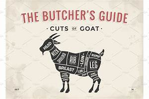 Cut Of Meat Set  Poster Butcher Diagram  Scheme