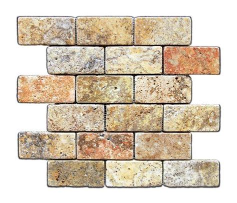 scabos 2 x 4 tumbled travertine brick mosaic tile 6 x 6