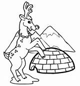 Coloring Pages Reindeer Igloo Winter Clip Printable Near Buildings Architecture Popular Drawing Filminspector sketch template