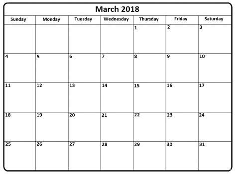 March 2018 Calendar Portrait Landscape Printable