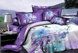 aliexpress com buy 3d purple white blue floral bedding sets queen size quilt duvet cover bed