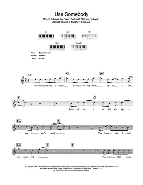 use somebody sheet music by kings of leon keyboard 49839