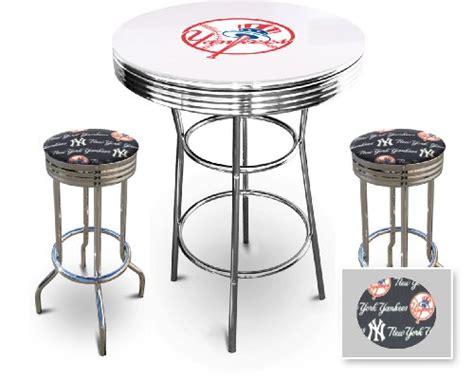 glass pub table set new york yankees glass white top chrome bar pub table set
