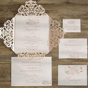 blush pink flower laser cut spring wedding invitation With laser cut pocket wedding invitations canada