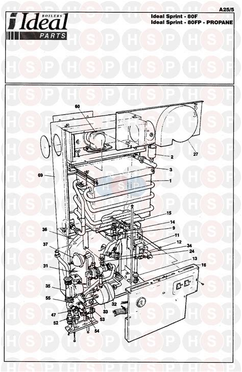 ideal sprint 80f boiler assembly 1 diagram heating spare parts