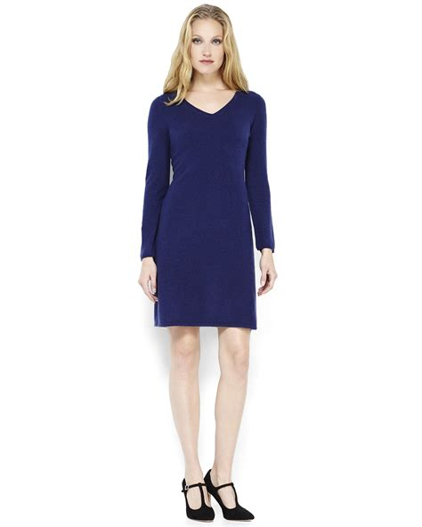 Sofia cashmere Navy Cashmere Sweater Dress in Blue (Navy ...