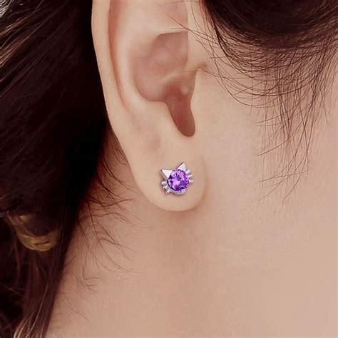 crystal cute cat stud earrings bengal cats