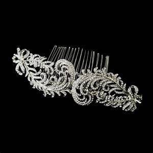 Antique Silver Rhinestone Flower Comb Elegant Bridal