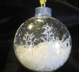 ornament idea clear glass fill half with quot snow quot paint snowflakes trees with