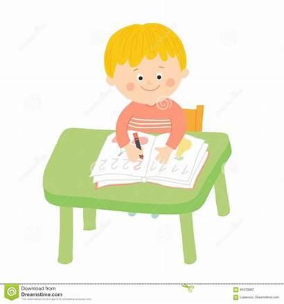 Klassenzimmer Nettes Schreibtisch Sveglia Scrittura Ragazzo Allo