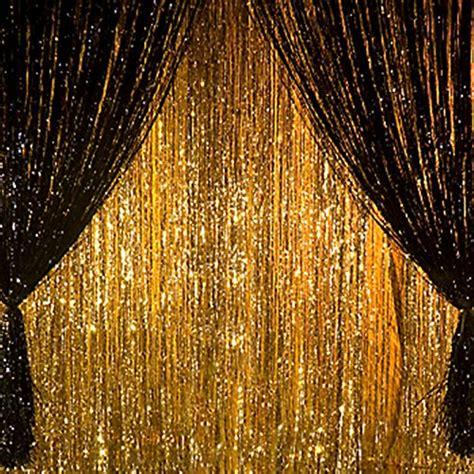 metallic 3 ft x 8 ft gold foil fringe curtains door