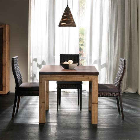 Table Carrée Salle à Manger Table Salle 224 Manger Avec Rallonge D 233 Pliante En Bambou Et Bois Exotique Bicolore Miel Antique