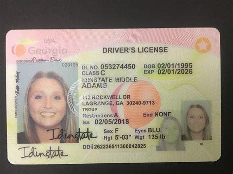 georgia fake license card ga driver front geogia state uv usa