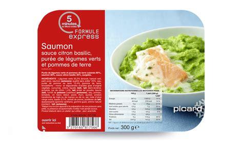 plats cuisin駸 picard saumon sauce citron basilic purée de légumes verts et pommes de terre surgelés