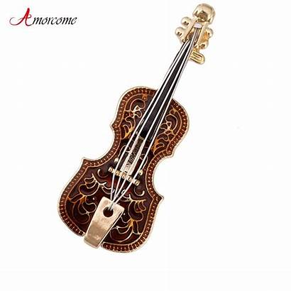 Violin Elegant Instruments Shaped Musical Brooches Gold