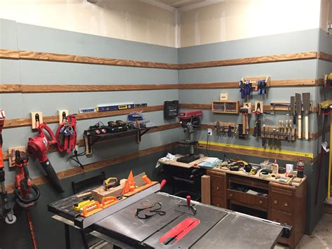 french cleat garage time    tools organized