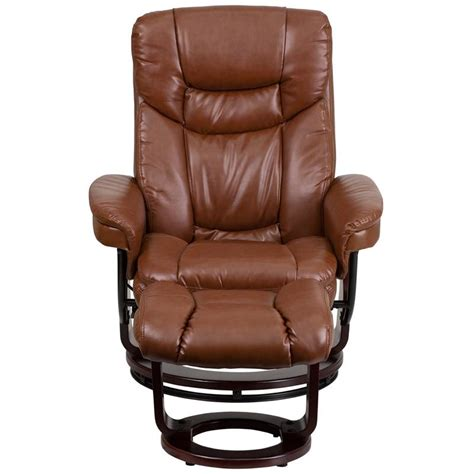 contemporary brown vintage leather recliner  ottoman