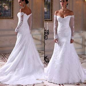 2016 sexy lace wedding mermaid dress with long sleeve for Off the shoulder long sleeve wedding dress