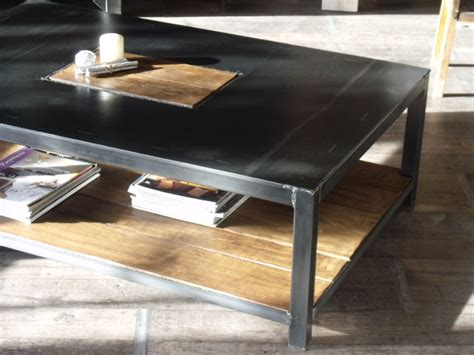 table basse industrielle metal et bois table basse rectangle bois m 233 tal style industriel meuble de style industriel bois et acier sur