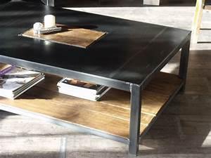 Table Basse Bois Metal : table basse industrielle meuble de style industriel bois et acier sur mesure micheli design ~ Teatrodelosmanantiales.com Idées de Décoration