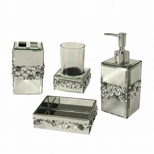 Elegant home fashions bling 4 piece bathroom accessory set for Matching bathroom accessories sets