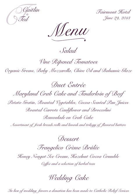 custom wedding reception menu antonia designs