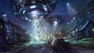 Wallpaper UFO abducts people free desktop background