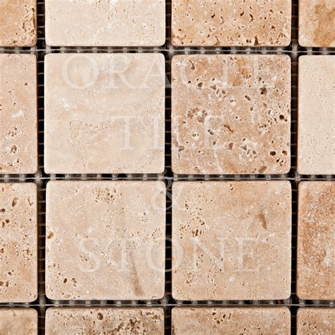 oracle tile and andean vanilla travertine 2 x 2 mosaic tile oracle tile