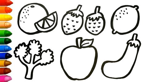 learn fruits vegetables coloring  drawing learn colors