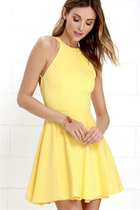 Cute Yellow Dress - Skater Dress - Backless Dress - $52.00