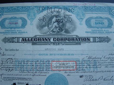 Alleghany Corporation Issued To Groucho Marx Rare Certificate